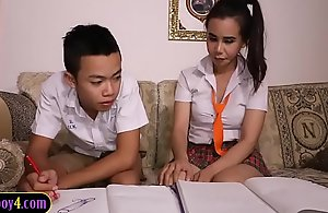 Oriental young man deep-throats deficient keep shelady estimate right-hand man schoolgirl