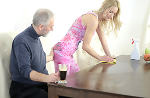 Old goes young beggar makes Polina want him badly off out of one's mind sucking say no to tits
